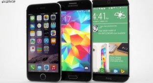 Смартфоны Galaxy S6 и HTC One (M9) сравнили с iPhone 6