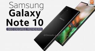 Большая утечка дизайна Galaxy Note 10